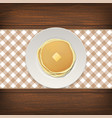 realistic pancake with a piece of butter on a vector image