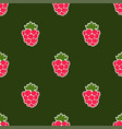 seamless raspberry background green pattern vector image