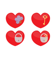 Set of glass hearts vector image