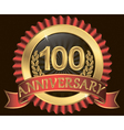 100 years anniversary golden label with ribbon vector image vector image