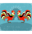 rooster fight color background vector image