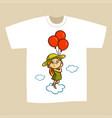 t-shirt print design girl with balloons vector image