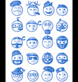 20 smiles icons set profession blue vector image