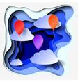 3d abstract paper cut illlustration of clouds and vector image
