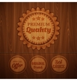 Badges on wooden background vector image