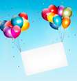 Colorful balloons holding up a cloth white banner vector image vector image