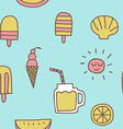 summer icons seamless pattern background vector image