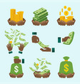 black hand with money set vector image