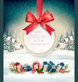 christmas holiday background with a gift card and vector image