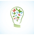 Concept bulb with butterflies vector image