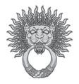 silver lion head on black background door vector image