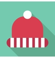 Winter red hat with white stripes icon flat style vector image