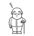Black and white old man sleeping and snoring vector image