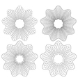 set of 4 guilloche pattern rosette vector image