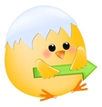 Chick with right arrow vector image