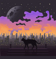 black cat at full moon purple background vector image
