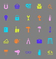 DIY color icons on gray background vector image