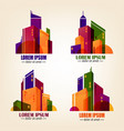 set of city logos in flat design colourful vector image