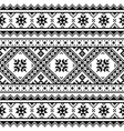 Traditional folk knitted black embroidery pattern vector image