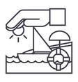 travel insuranceboatsunsandlifebuoy vector image