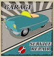 Vintage blue retro car vector image