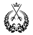 Royal laurel wreath with swords vector image vector image