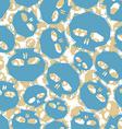Blue skulls seamless pattern geometric vector image