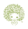 Ecology concept female head for your design vector image