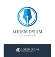 Fountain pen round logo vector image