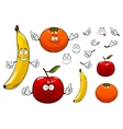 Cartoon apple orange and banana fruits vector image