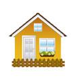 comfortable yellow facade house with garden and vector image