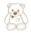 Hand drawn isolated Teddy bear vector image