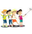 happy children doing self portrait vector image