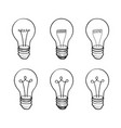 Lamp bulb collection light icon set hand drawn vector image