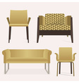 Modern golden sofa and arm chair furniture set vector image