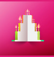 paper cake with candles on pink background vector image