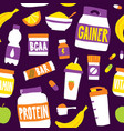 sport food nutrition seamless pattern vector image