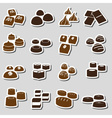 sweet chocolate truffles styles stickers set eps10 vector image