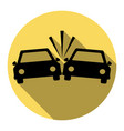 crashed cars sign  flat black icon with vector image