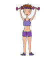cute cartoon fitness sport athletic hipster girl vector image