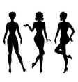 Silhouettes of beautiful pin up girls 1950s style vector image