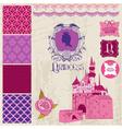 Design Elements - Princess Girl Birthday Set vector image vector image