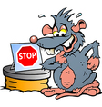 Hand-drawn of an scared Rat standing in front of vector image