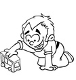 simple black and white little boy playing vector image