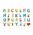 English Alphabet with Humans Use Modern Technology vector image