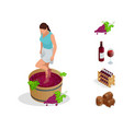 isometric wine production icons collection girl vector image