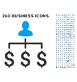 Money Collector Icon with Flat Set vector image