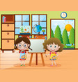 two girls with paintbrush and paint palette vector image