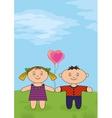 Children on meadow vector image vector image