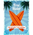 Free rider surfboards poster vector image vector image